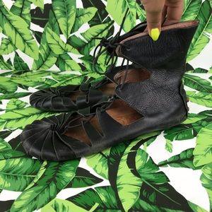 Jeffrey Campbell Black Leather Lace Up Flats